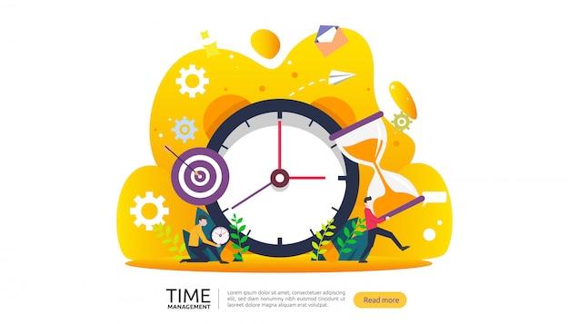 Time management en uitstelgedrag. planning en strategie voor bedrijfsbanner Premium Vector