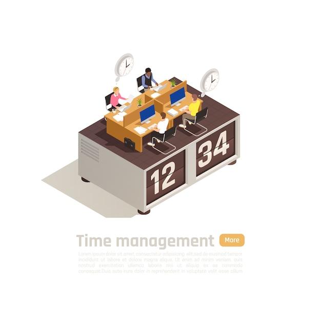 Time management isometrische bedrijfsconcept voor webpagina-ontwerp met een groep werknemers die werken op grote klok Gratis Vector