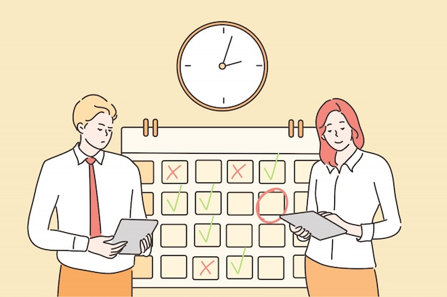 Time management, multitasking, teamwork, bedrijfsconcept Premium Vector