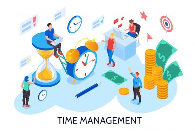 Time management ontwerpconcept voor planning en organisatie van de werktijd zonder onderbreking en uitstelgedrag isometrisch Gratis Vector