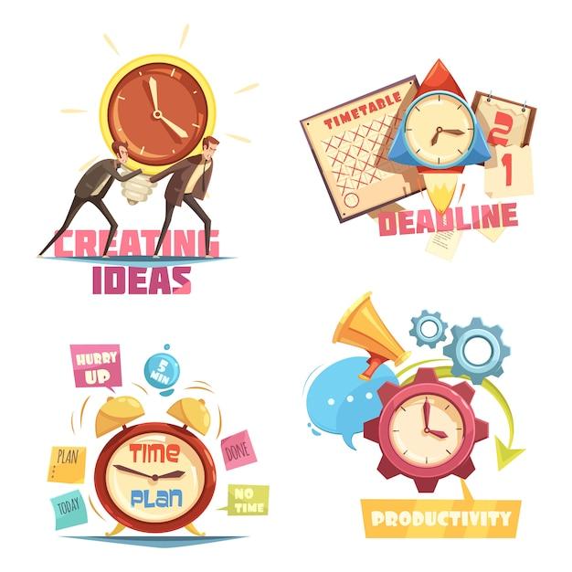 Time management retro cartoon composities met het creëren van ideeën en deadline effectieve planning Gratis Vector