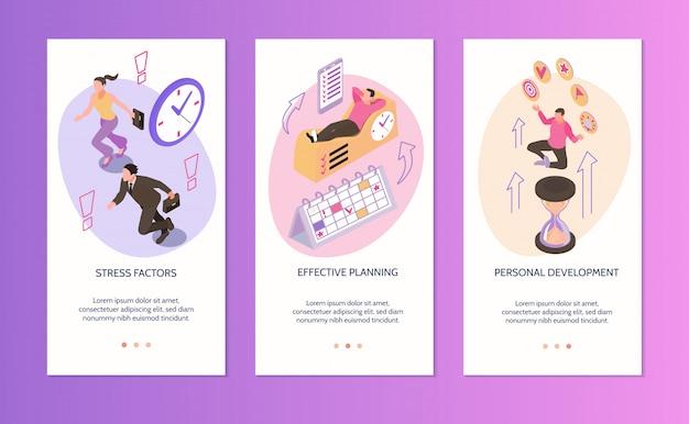 Time management verticale banners set stressfactoren effectieve planning persoonlijke ontwikkeling geïsoleerde composities isometrisch Gratis Vector