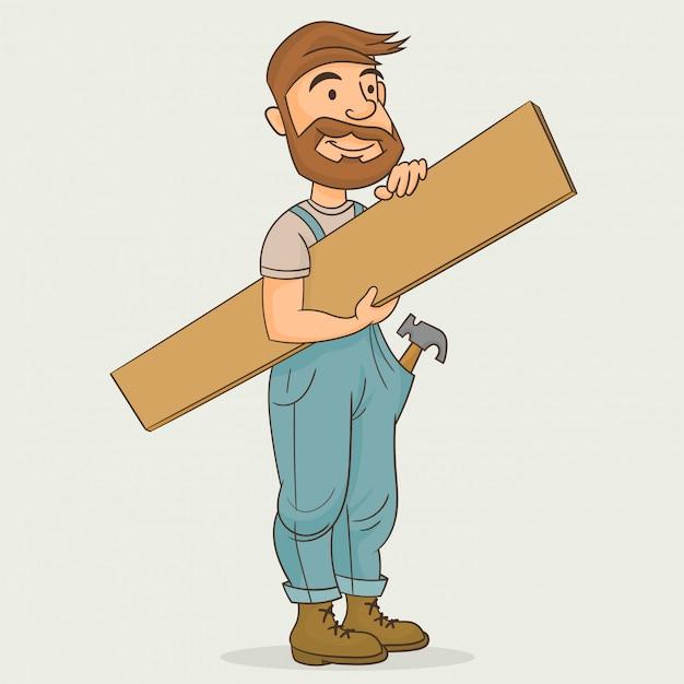 Timmerman die houten plank houdt Premium Vector