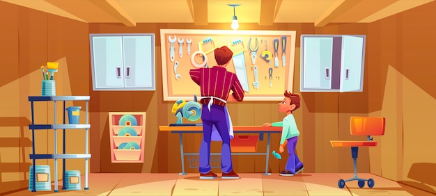 Timmerman en zijn zoon maken of repareren op de werkbank in de garage. cartoon illustratie van workshop interieur met timmerwerk tools en instrumenten. jongen met hamer helpt vader Gratis Vector