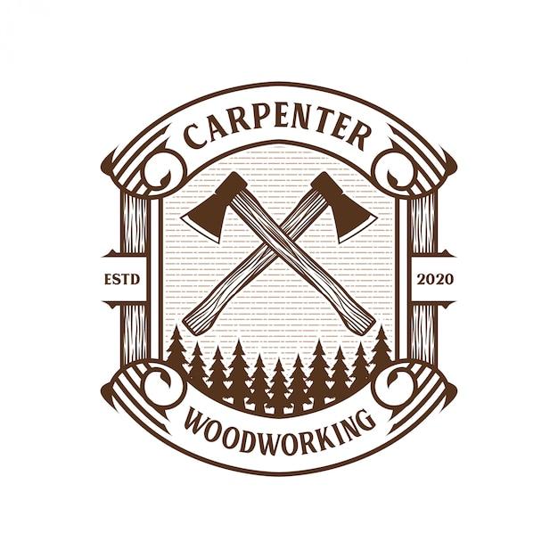Timmerman vintage logo met hamer en beitelelement voor merklabel Premium Vector