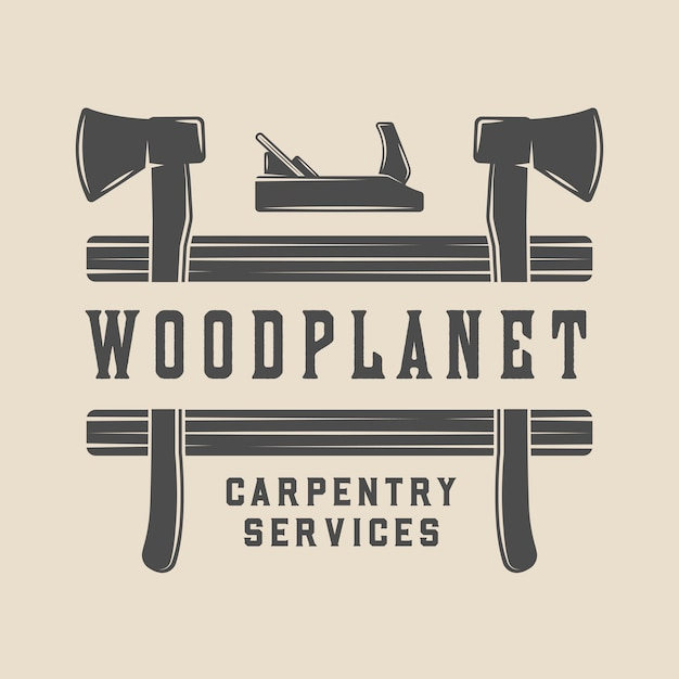 Timmerwerk, houtbewerking badge Premium Vector