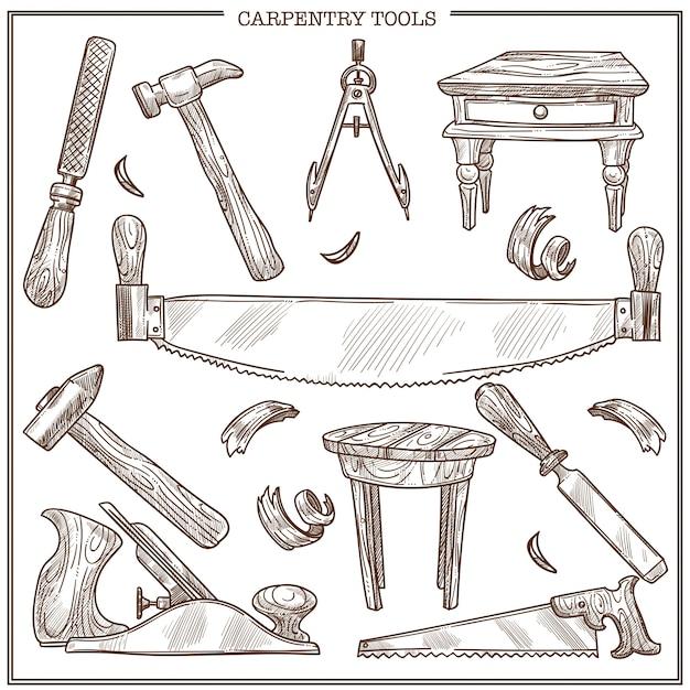 Timmerwerkhulpmiddelen schetspictogrammen die voor meubilairreparatie en timmermanshoutwerk worden geplaatst Premium Vector