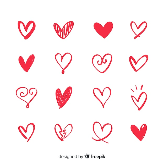 Tiny heart set Gratis Vector