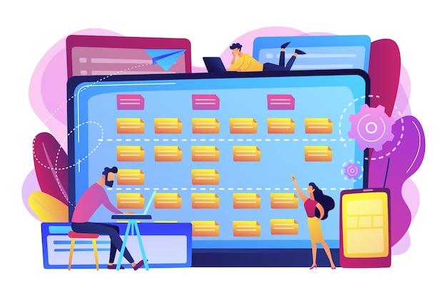 Tiny people developers bij laptop- en klantvereisten. beschrijving van softwarevereisten, agile tool voor gebruikersgeval, bedrijfsanalyseconcept. heldere levendige violet geïsoleerde illustratie Gratis Vector