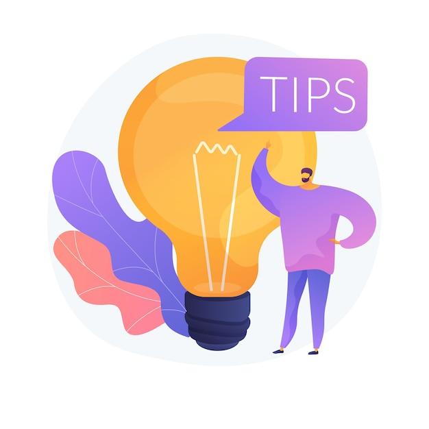 Tips en creatieve ideeën. bedrijfsinnovatie geïsoleerd plat ontwerpelement. probleemoplossing, advies, brainstormen. mannelijk karakter denken. Gratis Vector