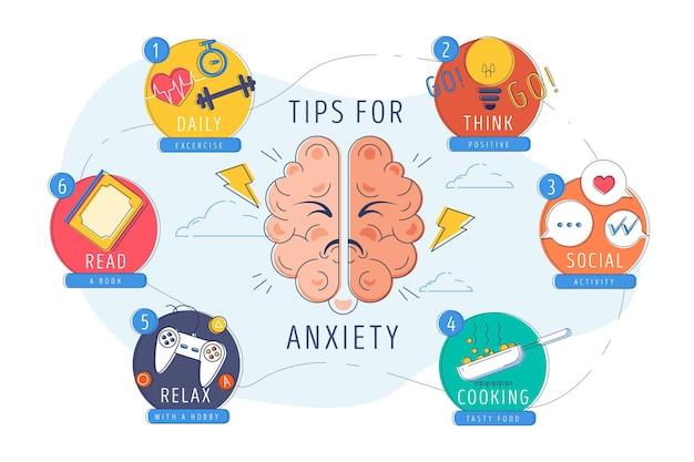 Tips voor angst infographic concept Gratis Vector