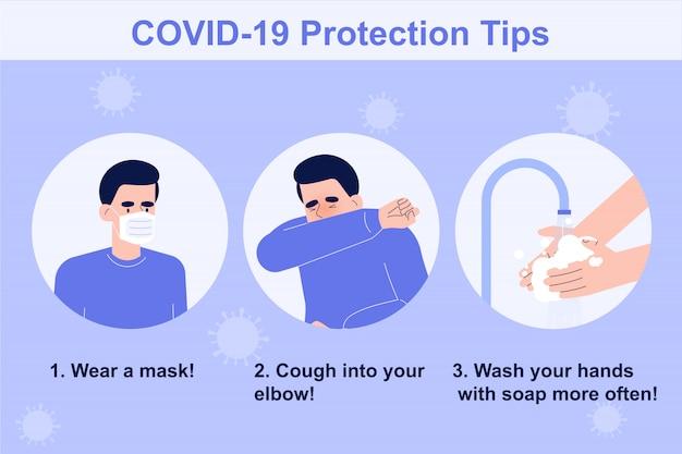 Tips voor bescherming tegen coronavirus Premium Vector