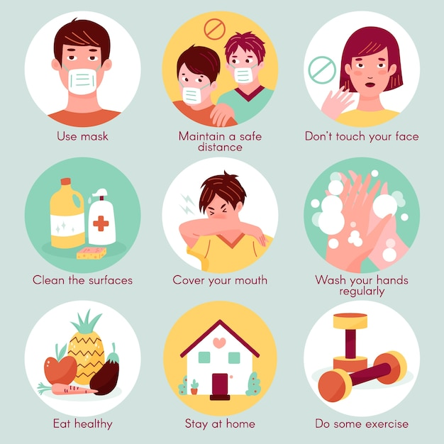 Tips voor coronaviruspreventie Gratis Vector