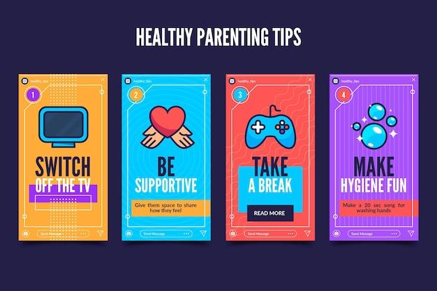 Tips voor gezond ouderschap voor instagram Gratis Vector