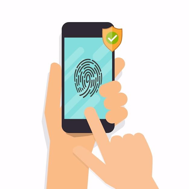 Toegang via vingerafdrukbeveiliging voor smartphones. modern illustratie concept. Premium Vector