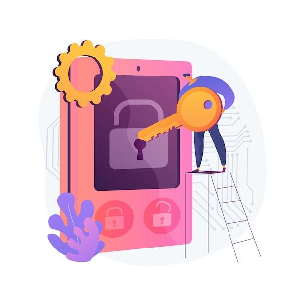 Toegangscontrole systeem abstracte concept illustratie. beveiligingssysteem, toegang autoriseren, inloggegevens, elektronische toegang, wachtwoord, wachtwoordzin of pin-verificatie Gratis Vector