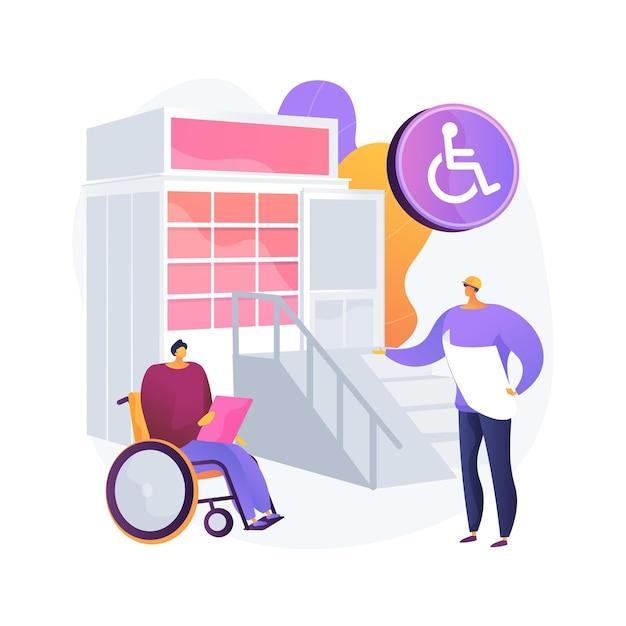 Toegankelijke omgeving ontwerp abstracte concept illustratie. gehandicaptenvriendelijke omgeving, slimme stad, drempelvrij, oprit op de ingang, brailleteken, openbare ruimte en vervoer Gratis Vector