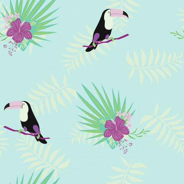 Toekan, tropische bloemen en bladeren floral textiel vector naadloze patroon. Premium Vector