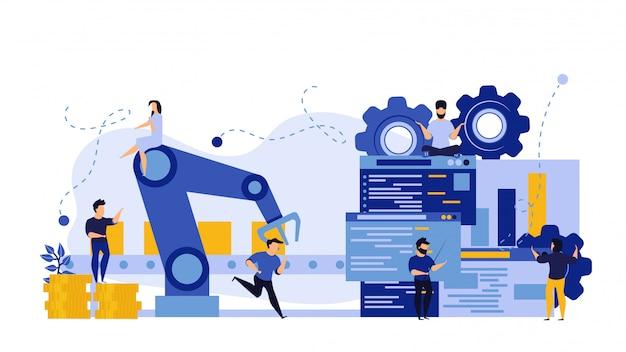 Toekomstig productieproces met grafische info-grafiek Premium Vector