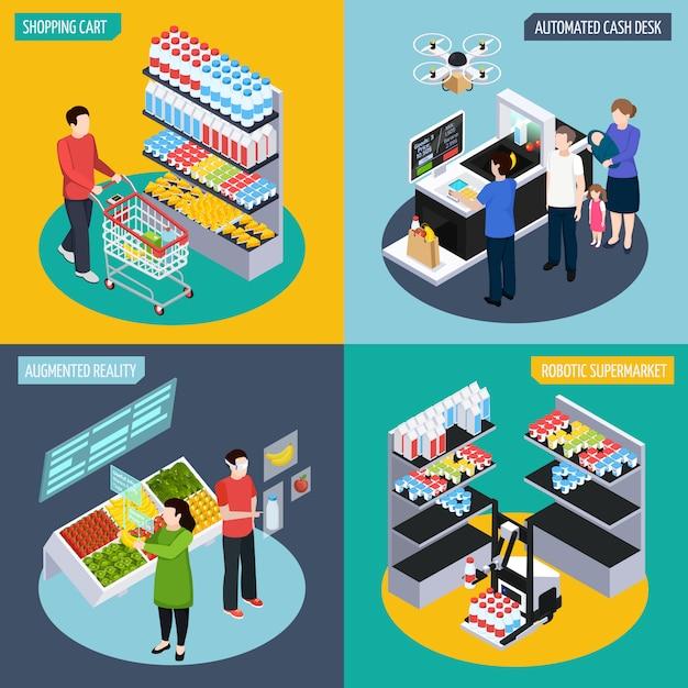 Toekomstig supermarkt isometrisch concept Gratis Vector