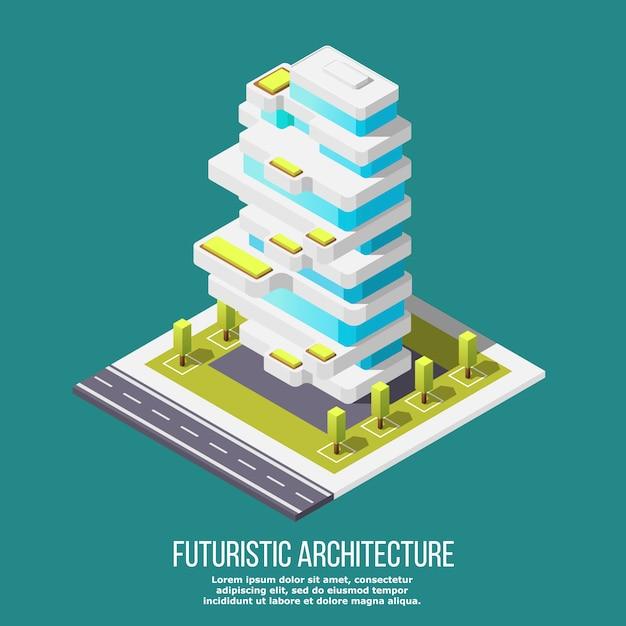 Toekomstige architectuur isometrisch Gratis Vector