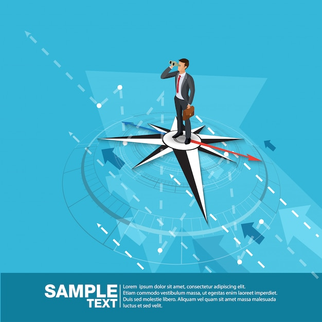 Toekomstige business leader concept finance manager business man op kompas. flat isometric people executive manager vector investor trader zakelijke toekomstvisie individueel succes Premium Vector