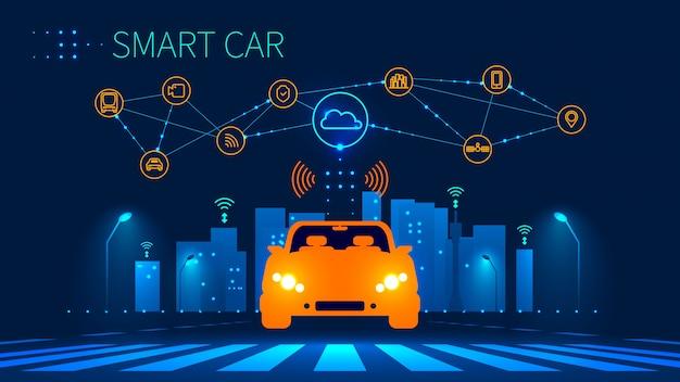 Toekomstige concept geautomatiseerde auto op stedelijke zebrapad Premium Vector