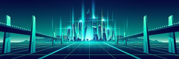 Toekomstige digitale wereld virtuele metropolis vector Gratis Vector