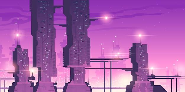 Toekomstige nachtstad met futuristische wolkenkrabbers Gratis Vector