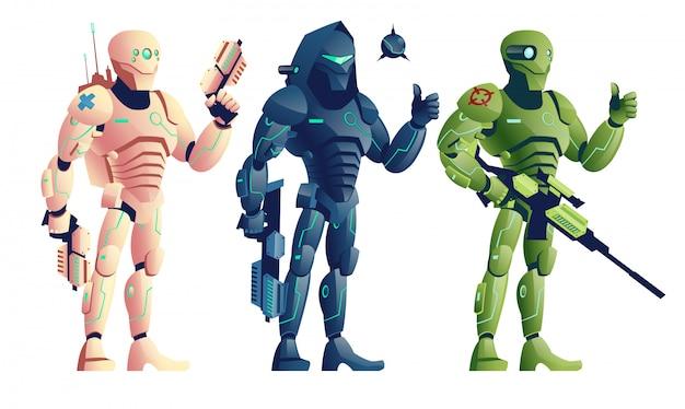 Toekomstige robotachtige soldaten, gewapende cyborgpistolen, saboteur met jachtgeweer en explosief Gratis Vector