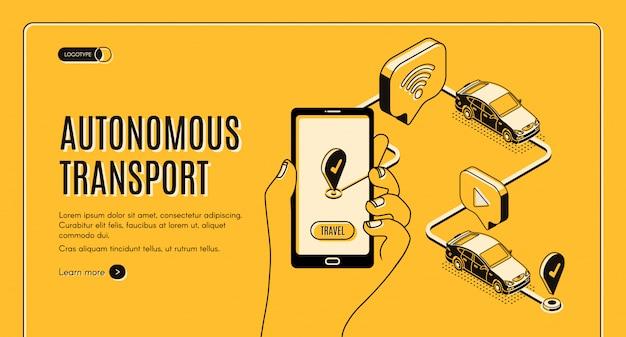 Toekomstige slimme technologie, smartphone met applicatie voor zelfrijdende auto op scherm Gratis Vector