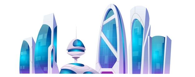 Toekomstige stadsgebouwen, futuristische wolkenkrabbers die op witte achtergrond worden geïsoleerd. Gratis Vector