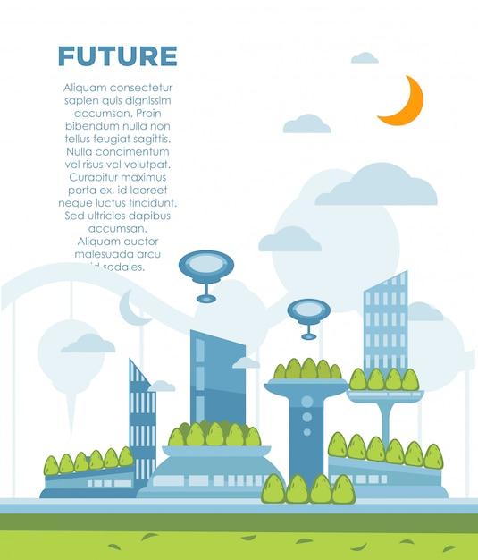 Toekomstige stadslandschap concept. vector moderne stadsgezicht achtergrond illustratie Premium Vector