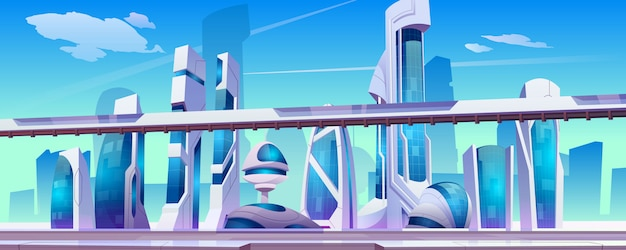 Toekomstige stadsstraat met futuristische glazen gebouwen met ongewone vormen, Gratis Vector