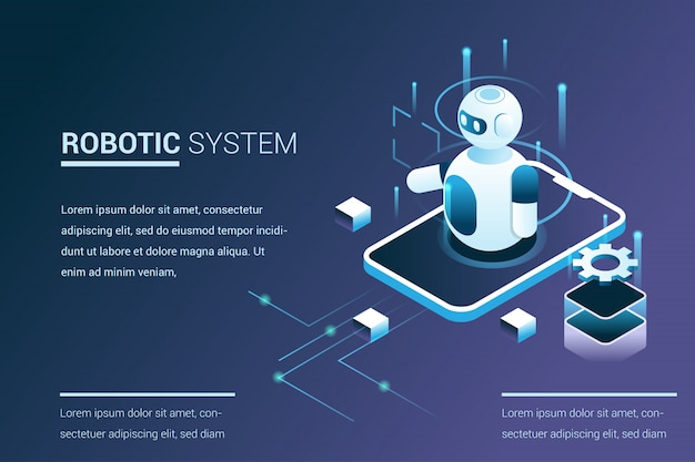 Toekomstige systeemautomatisering met robotmogelijkheden in isometrische 3d-stijl Premium Vector