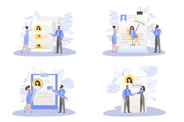 Toepassingsdocument goedgekeurde set. idee van werkgelegenheid Premium Vector