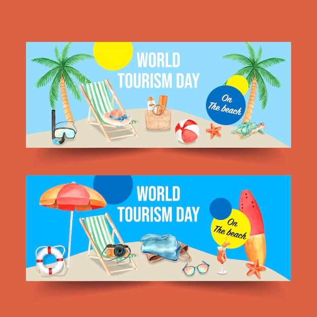 Toerisme dag banner ontwerp met zwemmen ring, paraplu, surfplank, zeester Gratis Vector