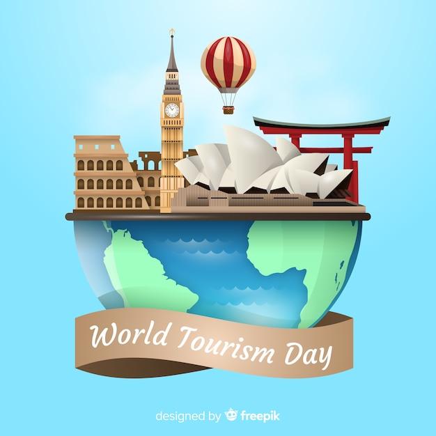 Toerisme dag evenement met realistische wereld Gratis Vector