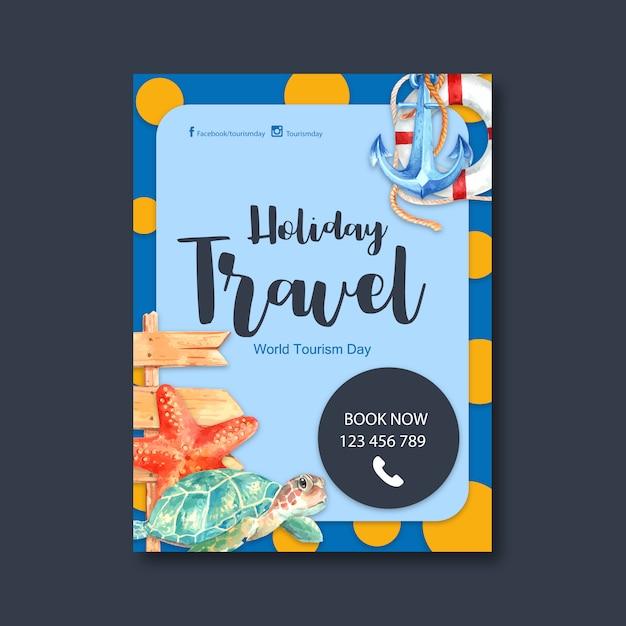 Toerisme dag flyer ontwerp met anker, zwemring, zeester, schildpad Gratis Vector