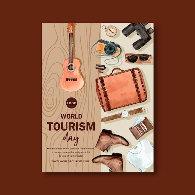 Toerisme dag flyer ontwerp met bruin hout, ukelele, leer Gratis Vector