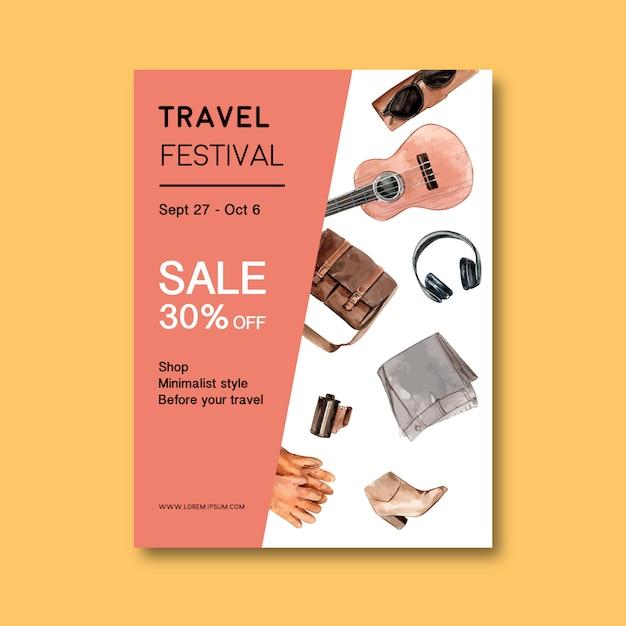 Toerisme dag flyer ontwerp met tas, laarzen, zonnebril, handschoenen Gratis Vector