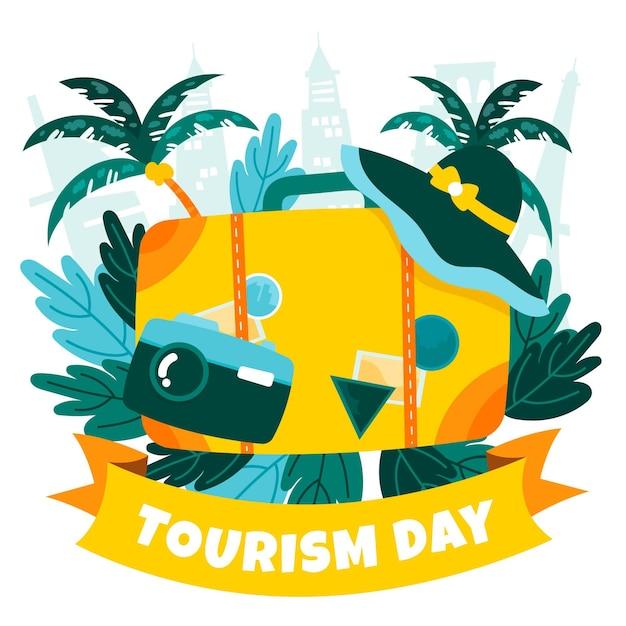 Toerisme dag handgetekende concept Gratis Vector
