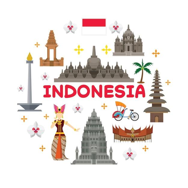 Toerisme en traditionele cultuur Premium Vector