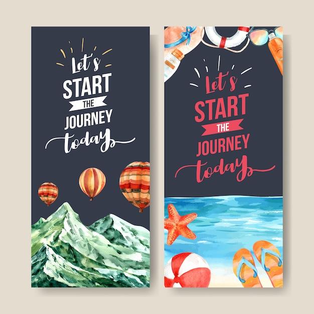 Toerisme flyer ontwerp met bergen, strandballon, zee en andere. Gratis Vector