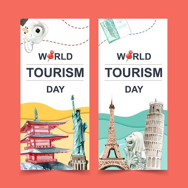 Toerisme flyer ontwerp met chureito pagode, merlion, scheve toren van pisa. Gratis Vector