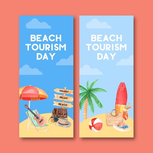 Toerisme flyer ontwerp met paraplu, stoel, gitaar, surfplank, strandbal. Gratis Vector