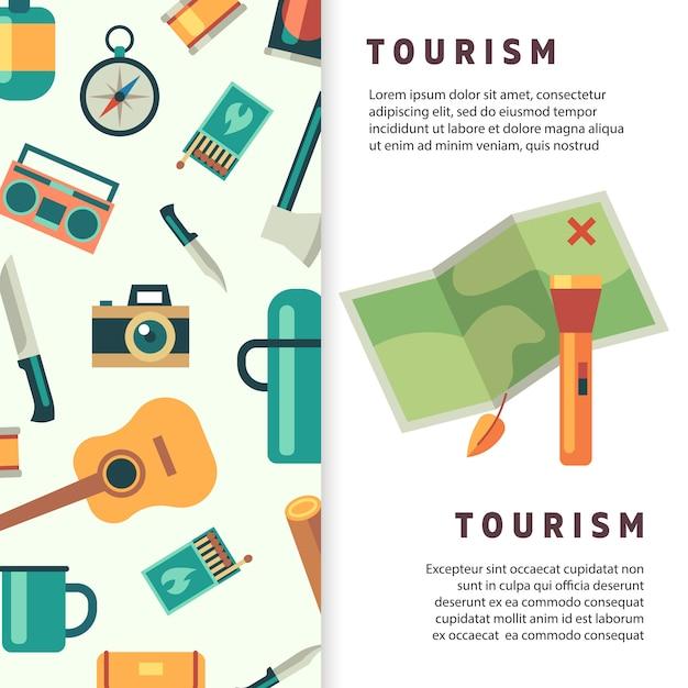 Toerisme spandoekontwerp met platte kaart en accessoires Premium Vector
