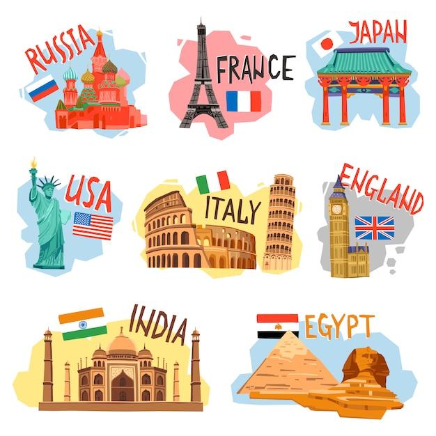 Toerisme vakantie reizen platte pictogrammen instellen Gratis Vector