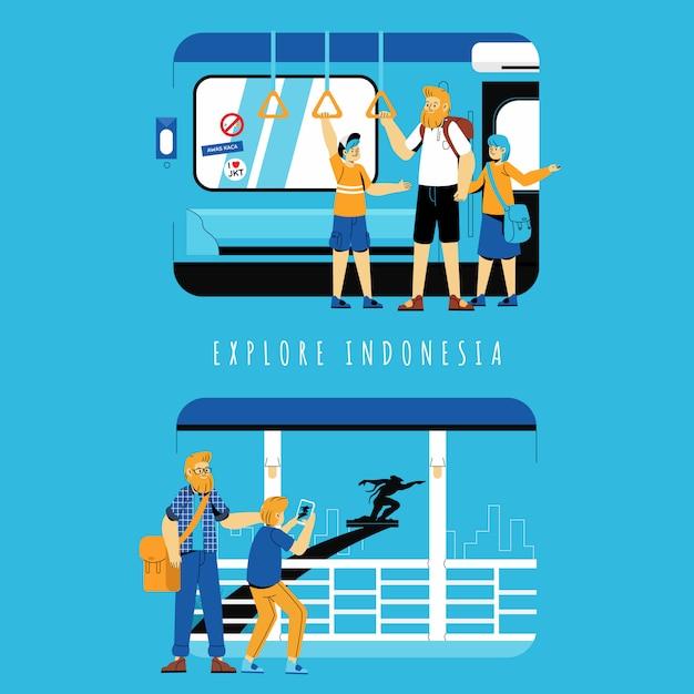 Toerist die het conceptenillustratie van indonesië onderzoeken Premium Vector