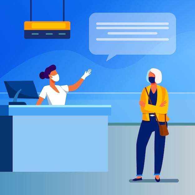Toerist en luchthavenmedewerker die gezichtsmasker draagt Gratis Vector